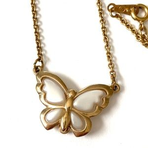 Vintage Butterfly necklace white gold